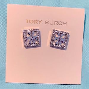 Tory Burch square sparkly stud earrings